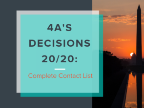 4A's Decisions 20/20: Complete Contact List